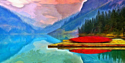 Paddling Digital Art - Lake And Mountains - Da by Leonardo Digenio