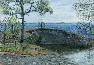 Clear Sky Drawing - Lake And Sea by Anna Vasilkova