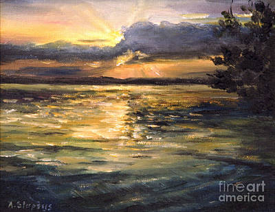 Art Print featuring the painting Lake by Arturas Slapsys