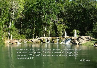 Lake At Cinco Ranch With Scripture Art Print by Dennis Stein