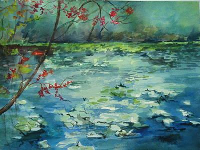 Waterlillys Painting - Lake At Jacksonville Arboretum by Marilyn Masters