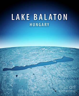 Lake Balaton 3d Render Satellite View Topographic Map Vertical B Art Print