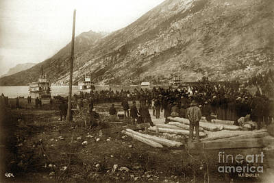 Photograph - Lake Bennett With Riveboats Klondike Gold Rush  July 6, 1899 by California Views Archives Mr Pat Hathaway Archives