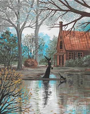 Witch Halloween Cat Wicca Painting - Lake Bewitched by Margaryta Yermolayeva