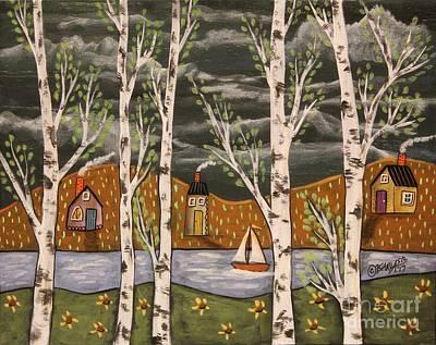Tree Art Painting - Lake Birches by Karla Gerard
