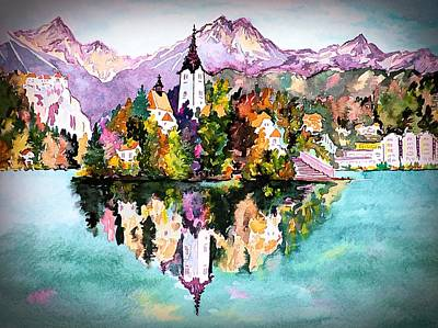 Digital Art - Lake Bled - Slovenia by Joseph Hendrix