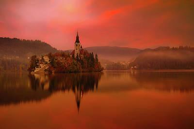 Photograph - Lake Bled Sunrise by Artem Sapegin