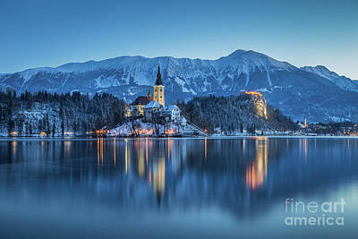 Photograph - Lake Bled Winter Twilight by JR Photography