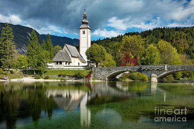 Photograph - Lake Bohinj Church by Brian Jannsen