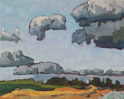 Painting - Lake Breeze Cumulus Over Southampton Beach by Phil Chadwick