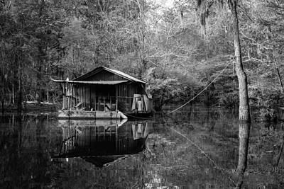 Photograph - Lake Cabin Bw by Deb Buchanan