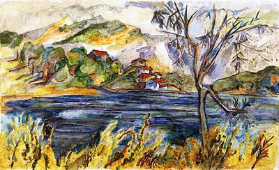 Spanish Villa Painting - Lake Casitas IIi by Lily Hymen