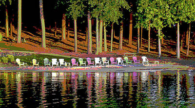 Mixed Media - Lake Chairs by Charles Shoup