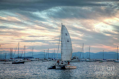 Art Print featuring the photograph Lake Champlain Sunset Sail by Susan Cole Kelly