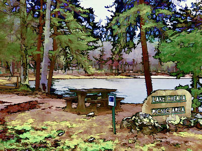 High Park Fire Painting - Lake Cheaha by Lanjee Chee
