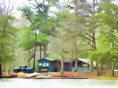 High Park Fire Painting - Lake Cheaha Picnic Area by Lanjee Chee