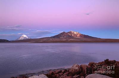 Photograph - Lake Chungara At Sunset Chile by James Brunker