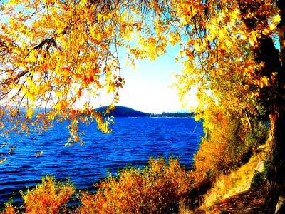 Autumn Landscape Digital Art - Lake Coeur D'alene Through Golden Leaves by Carol Groenen