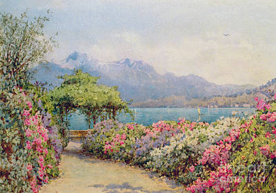 Surrounding Painting - Lake Como From The Villa Carlotta by Ernest Arthur Rowe