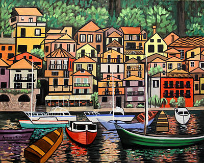 Small Boat Painting - Lake Como Italy by Anthony Falbo