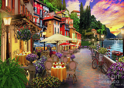 Lake Como Digital Art - Lake Como Promenade by MGL Meiklejohn Graphics Licensing