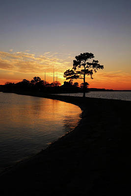 A White Christmas Cityscape - Lake Conroe Sunset Vertical by Judy Vincent
