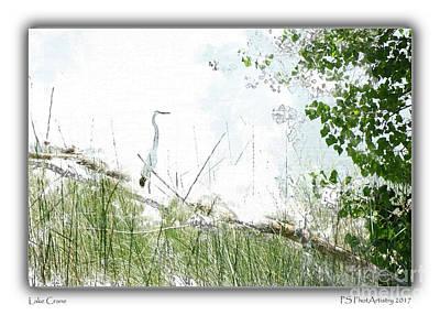 Digital Art - Lake Crane by Deborah Nakano