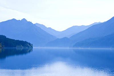 Photograph - Lake Crescent In Blue Mist - Washington by Marie Jamieson