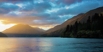 Cabin Wall Photograph - Lake Crescent Sunrise by Thomas Schoeller