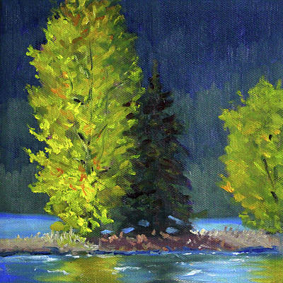 Painting - Lake Cushman Trees by Nancy Merkle