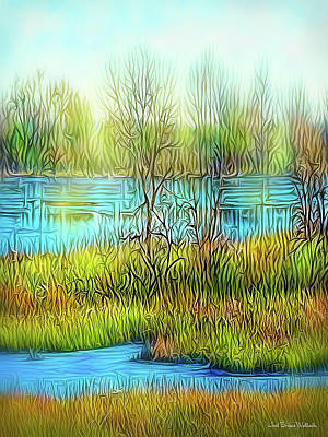 Digital Art - Lake Day Flow by Joel Bruce Wallach