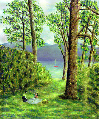 Picnic Painting -  Lake Derwentwater - Lake District by Ronald Haber
