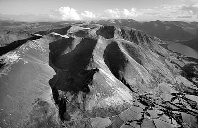 Graduation Hats - Lake District National Park. Grasmoor Fells.    Black and White by David Lyons