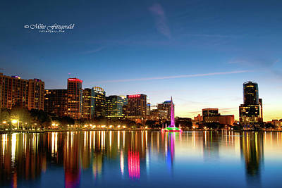 Photograph - Lake Eola At Sunset by Mike Fitzgerald