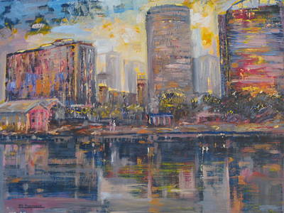 City Scape Painting - Lake Eola by Marshall Desveaux