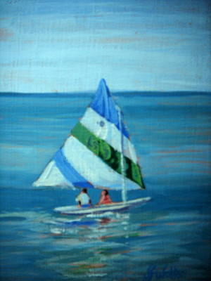 Painting - Lake Erie Sail 1 by Judy Fischer Walton