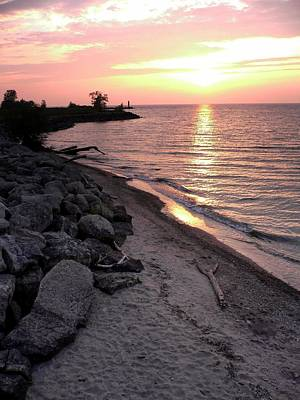 Photograph - Lake Erie Sunset-1 by David Coblitz