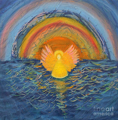 Painting - Lake Erie Tie Dye Angel by Anne Cameron Cutri