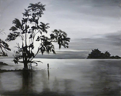 Branch Hill Pond Painting - Lake Fishing by Michelle Iglesias