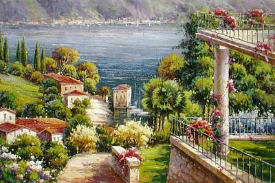 Lake Front Villa Art Print by Lucio Campana