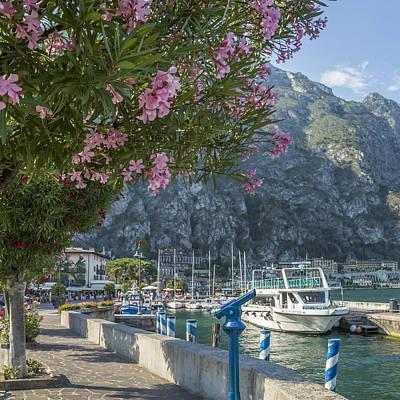 Lake Garda Harbour And Riverside In Limone Sul Garda Art Print by Melanie Viola