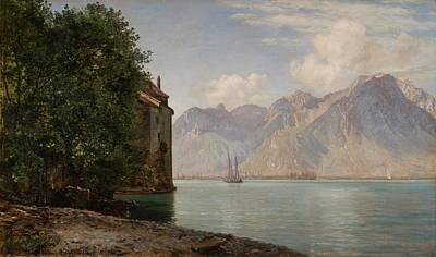 Chillon Painting -  Lake Geneva by Janus La Cour