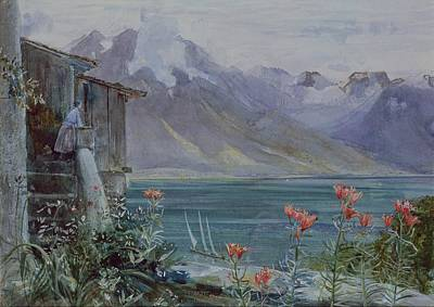 Mountain Painting - Lake Geneva by John William Inchbold