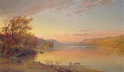 Reflecting Sunset Painting - Lake George  Ny by Jasper Francis Cropsey