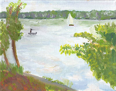 Painting - Lake Harriet With Sailboat And Angler by Paul Thompson