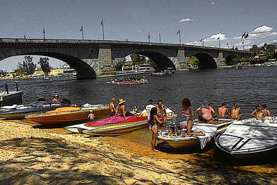 Painting - Lake Havasu Arizona - London Bridge by Art America Gallery Peter Potter