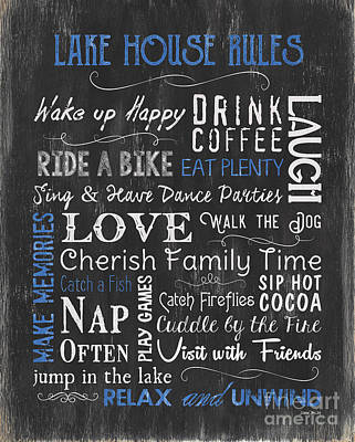 Pier Houses Painting - Lake House Rules by Debbie DeWitt