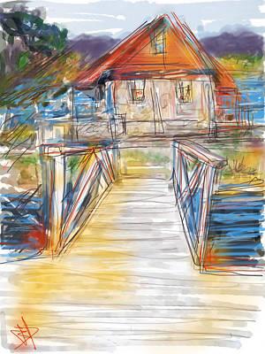 Boating Digital Art - Lake House by Russell Pierce