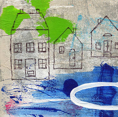 Abstract Landscape Painting - Lake Houses by Linda Woods
