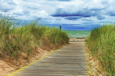 Art Print featuring the photograph Lake Huron Boardwalk by Bill Gallagher